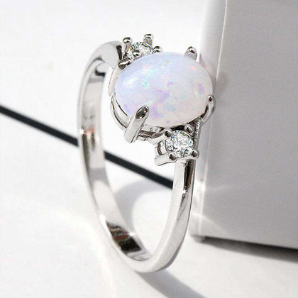 Oval Cut Opal Diamond Ring Birthday Gift - 24/7 bestdeals