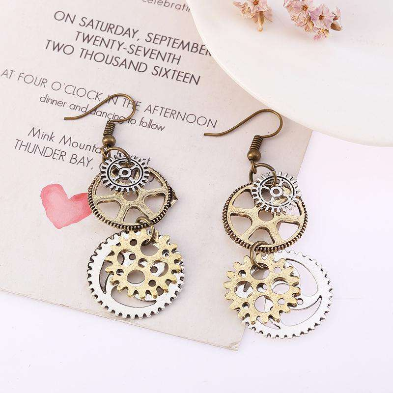 Ladies Personality Fashion Watch Pin Gear Earrings