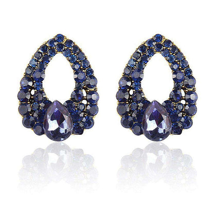 Women Fashion Jewelry Navy Blue Crystal Earrings - 24/7 bestdeals