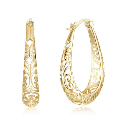 S925 Plated Hollow Out Simple Pure Silver Earrings Champagne Gold - 24/7 bestdeals