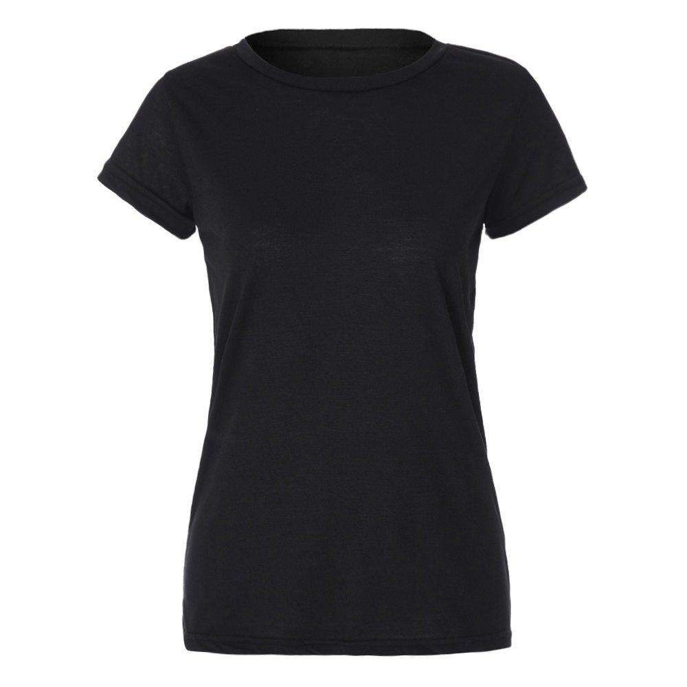 Stylish Women's Hollow Out Back Round Collar Short Sleeve T-Shirt