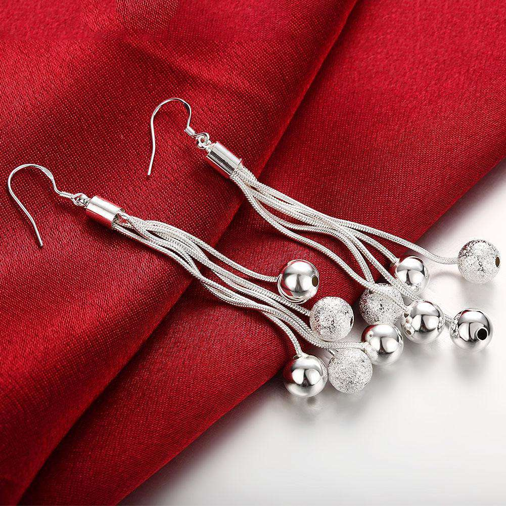 Five-Line Sand Bead Earrings with Silver Ball Shape Simple Earrings