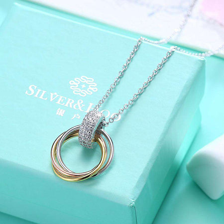 S925 Sterling Silver Necklace with Three-Colour Coil Diamond Pendant Necklace - 24/7 bestdeals
