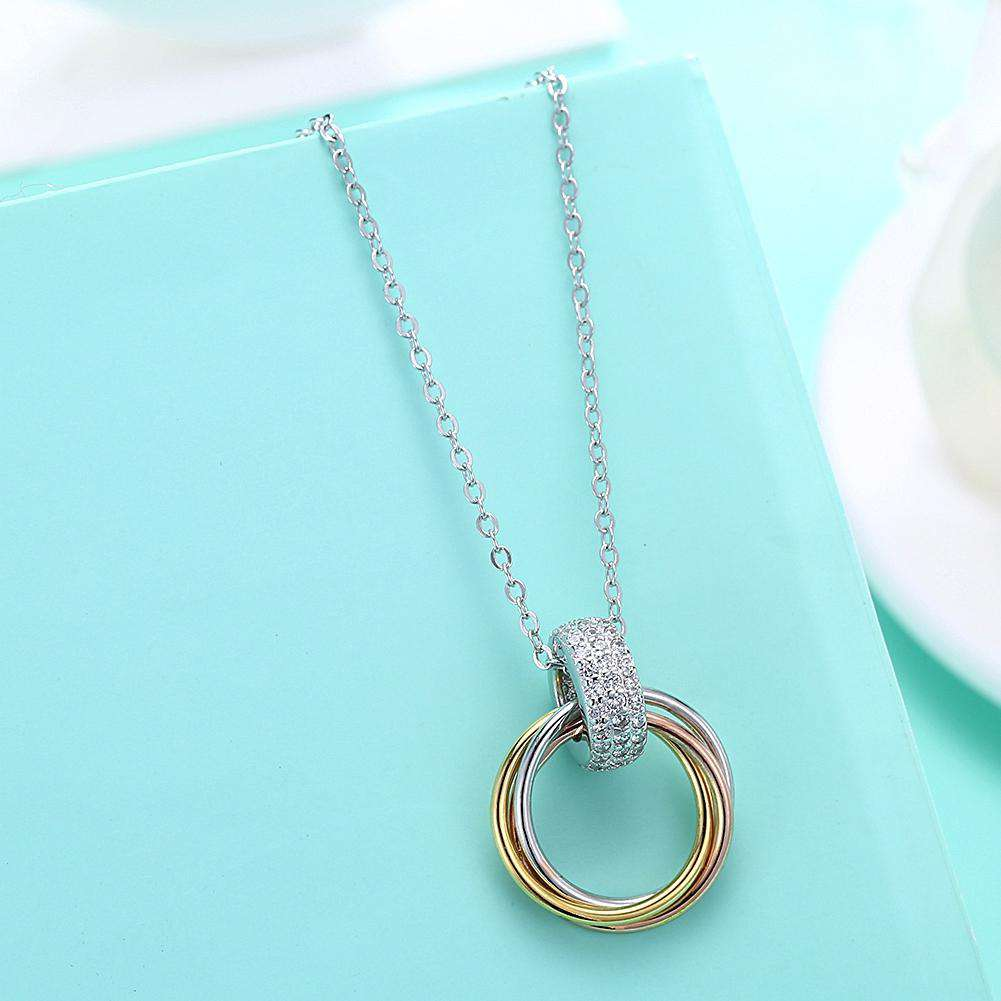 S925 Sterling Silver Necklace with Three-Colour Coil Diamond Pendant Necklace