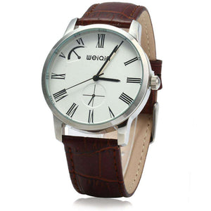 WeiQin W23056 Male Analog Quartz Watch Leather Band 5ATM Water Resistant Small Dial Decorating