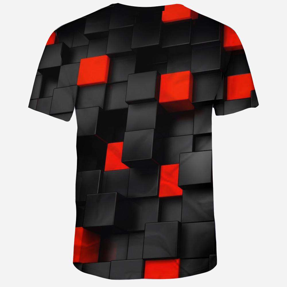 New Fashion Concave and Convex Lattice 3D Printed Men's Short Sleeve T-shirt
