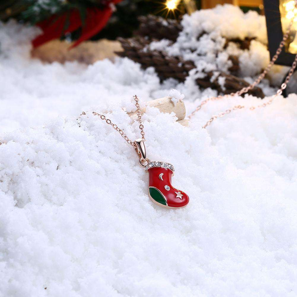 Christmas Drizzle Socks Necklace White/Rose Gold
