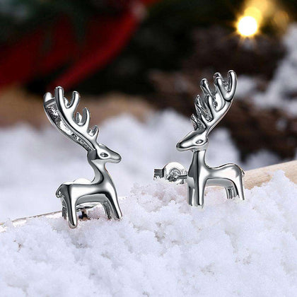 Christmas Deer Earrings Platinum Plated - 24/7 bestdeals