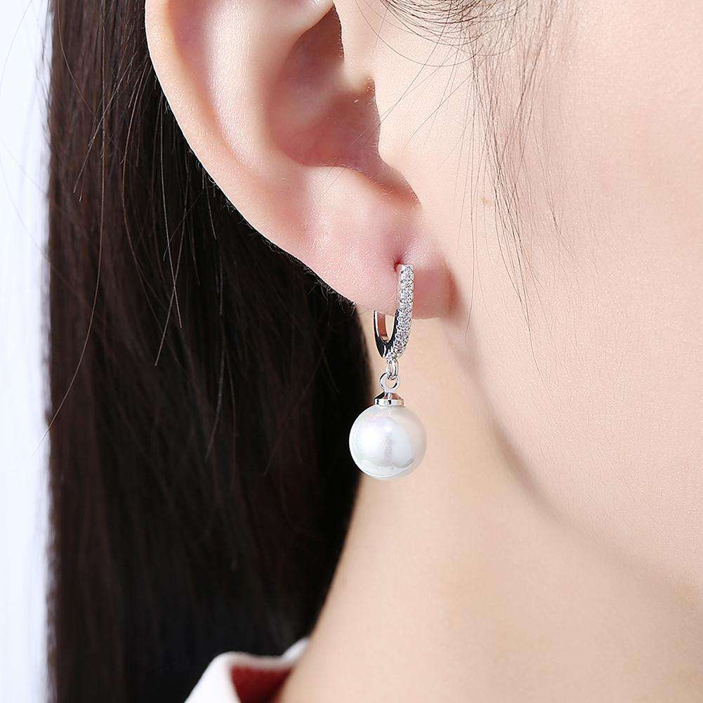 Zircon Eardrop Pearl Set Romantic Wind Earring Clip