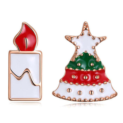 Christmas Drops Christmas Tree Candle Earring Plated with Rose Gold - 24/7 bestdeals