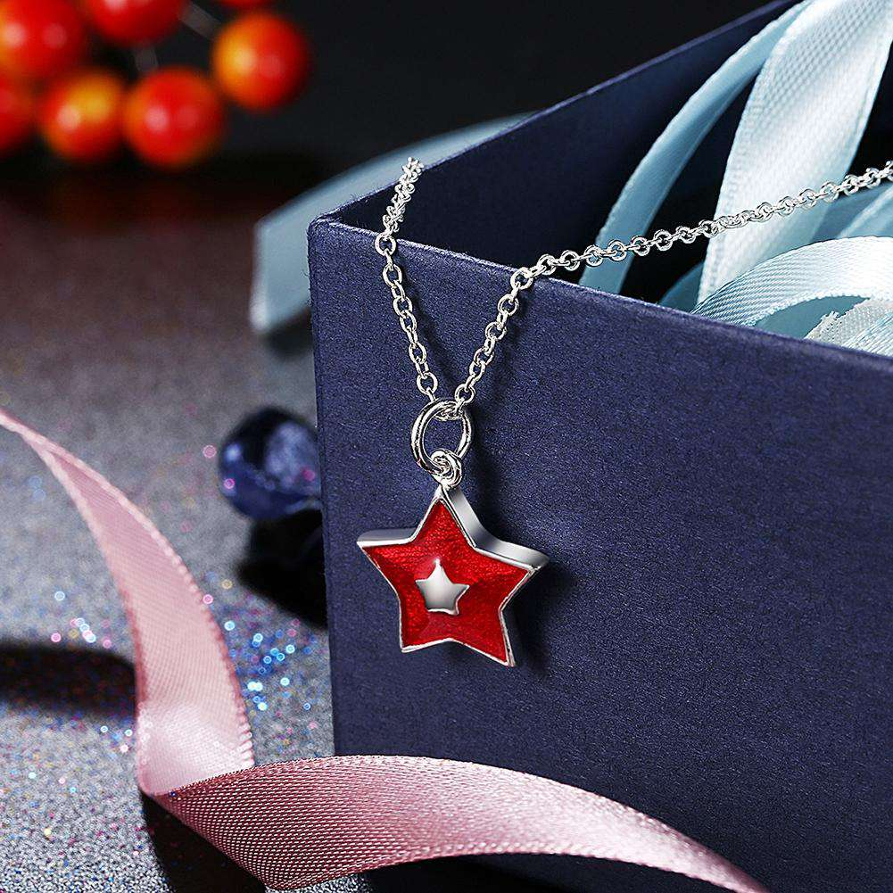 Another Silver Christmas Theme - Red Five-Pointed Star Pendant Necklace