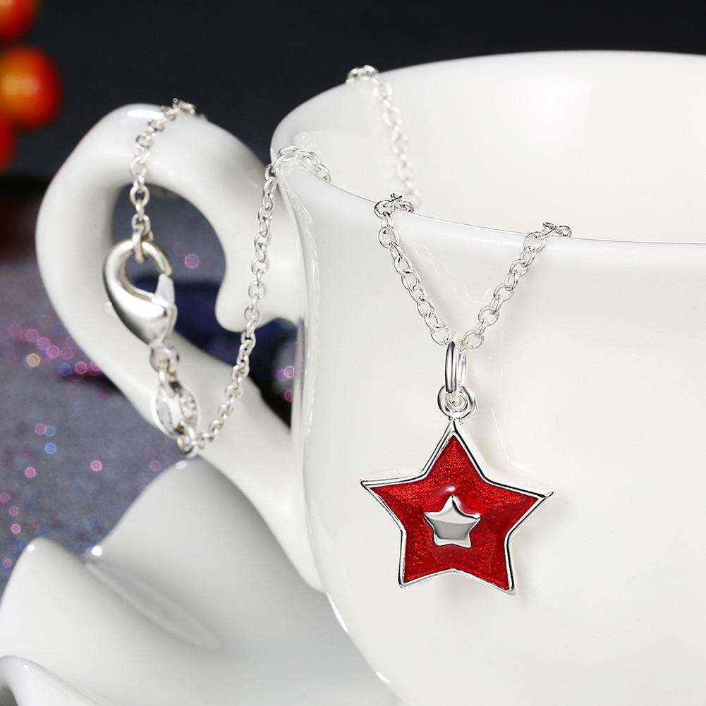 Another Silver Christmas Theme - Red Five-Pointed Star Pendant Necklace - 24/7 bestdeals