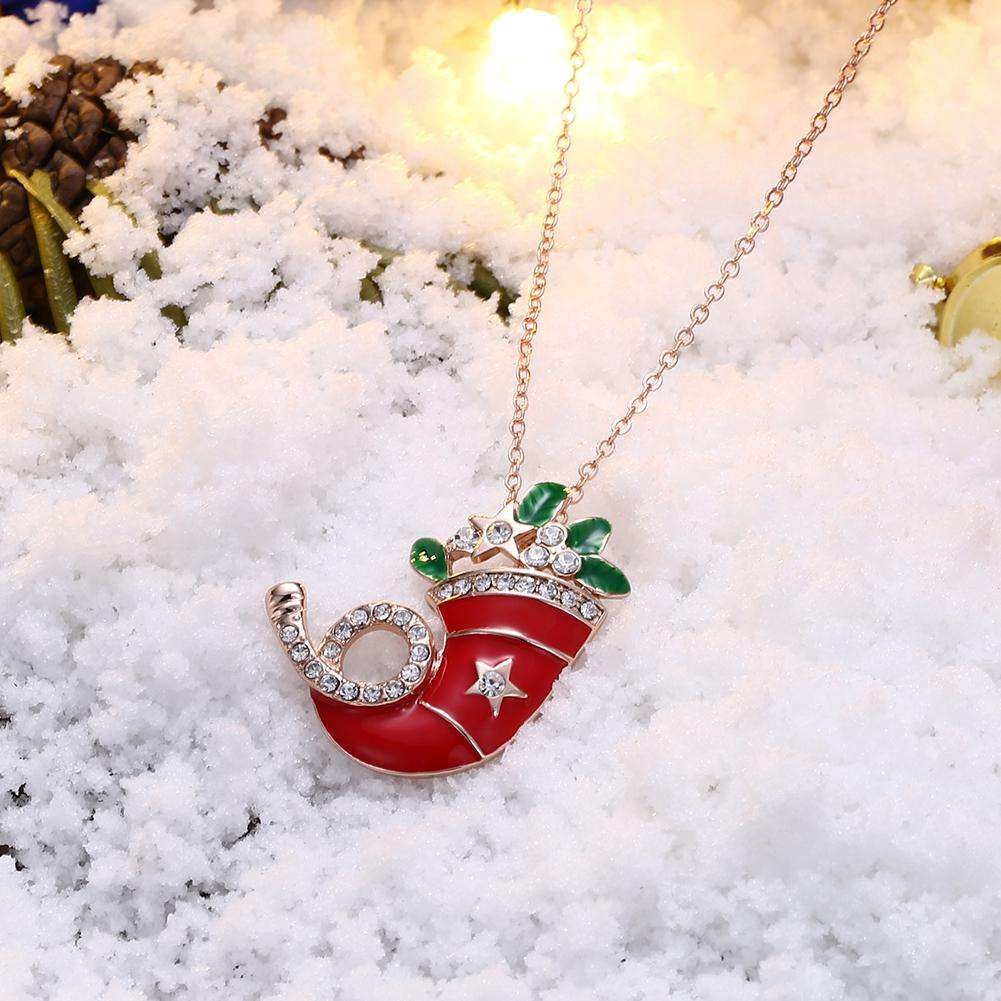 Christmas Dripping Oil Santa Hat Necklace White/Rose Gold