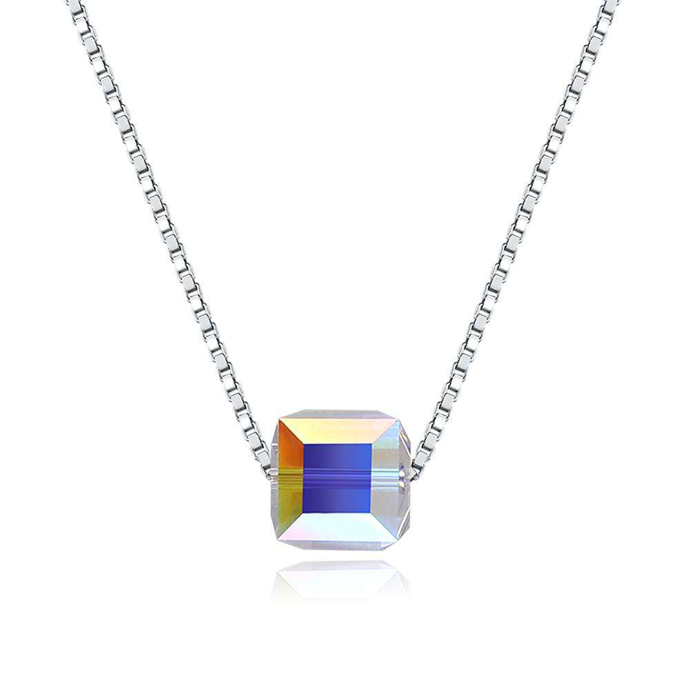 S925 Crystal Square Sterling Silver Necklace