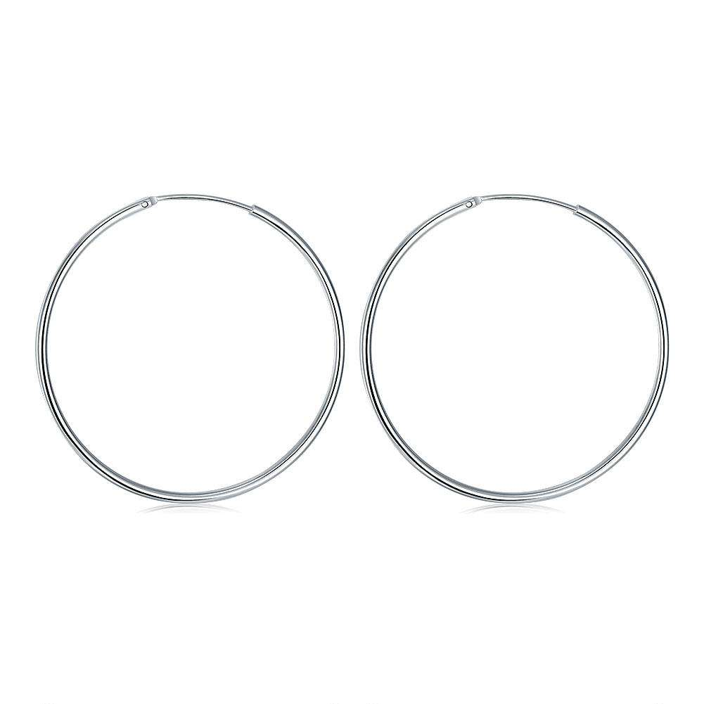 Round Earring with Smooth Surface and Silver Trim