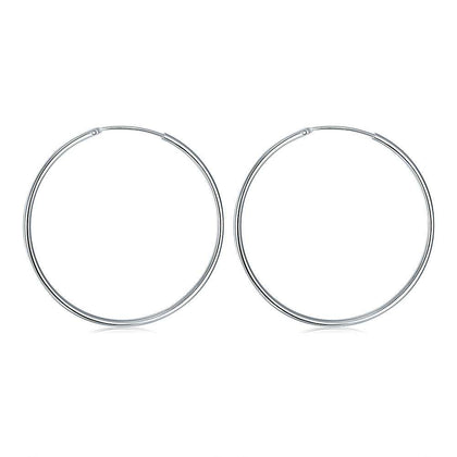 Round Earring with Smooth Surface and Silver Trim - 24/7 bestdeals