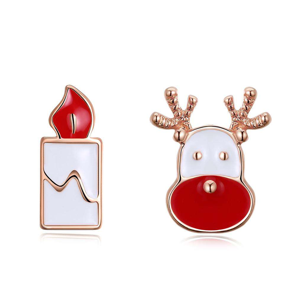 Christmas Drops Oil Santa Candle Earrings Plated in Rose Gold
