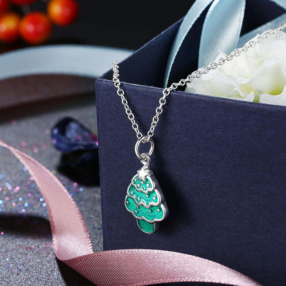 Another Silver Christmas Theme - Green Christmas Tree Necklace