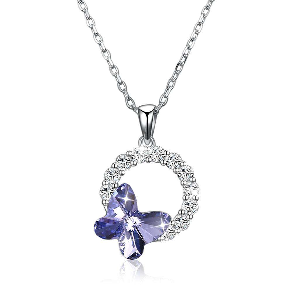 S925 Sterling Silver Butterfly Romantic Round Pendant Necklace - 24/7 bestdeals