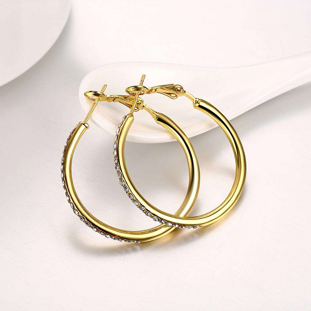 Gold Round Czech Diamond Earrings - 24/7 bestdeals