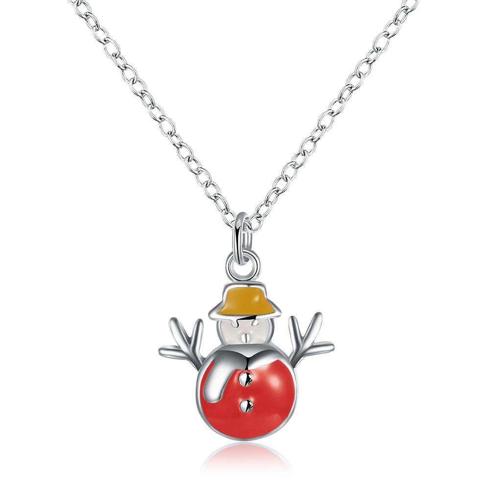 Another Silver Christmas Theme - Red Snowman Necklace