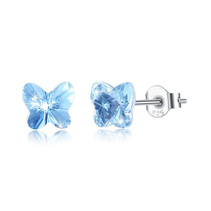 Butterfly Stud Earring S925 Pure Silver Earring Pale Blue/Platinum Plated - 24/7 bestdeals