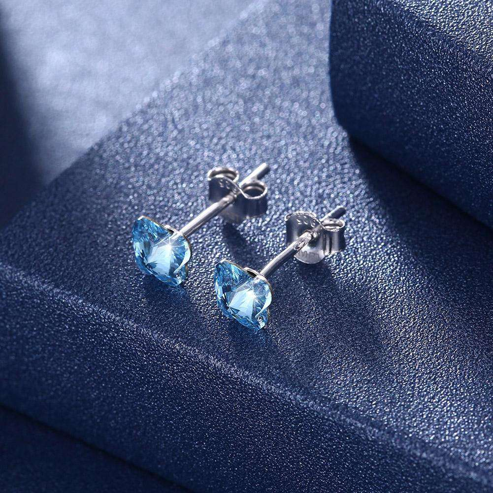 Butterfly Stud Earring S925 Pure Silver Earring Pale Blue/Platinum Plated