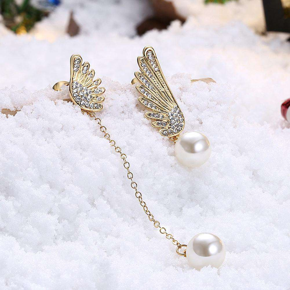 Christmas Pearl Earrings Dripping Oil White/Gold Plating