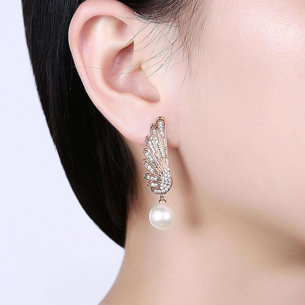 Christmas Pearl Earrings Dripping Oil White/Rose Gold Plating