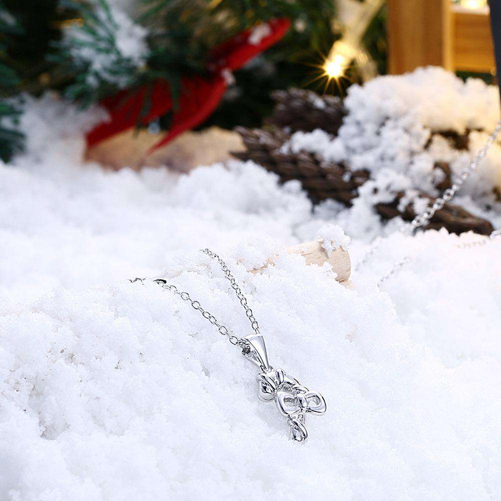 Christmas Zircon Bow Necklace