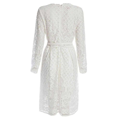 Elegant Round Collar Long Sleeve Lace A-Line Midi Dress for Women - 24/7 bestdeals