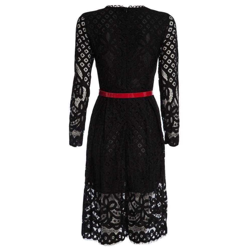 Elegant Round Collar Long Sleeve Lace A-Line Midi Dress for Women