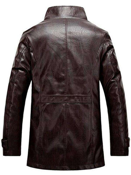 Stand Collar Flocking Single Breasted PU-Leather Jacket - 24/7 bestdeals