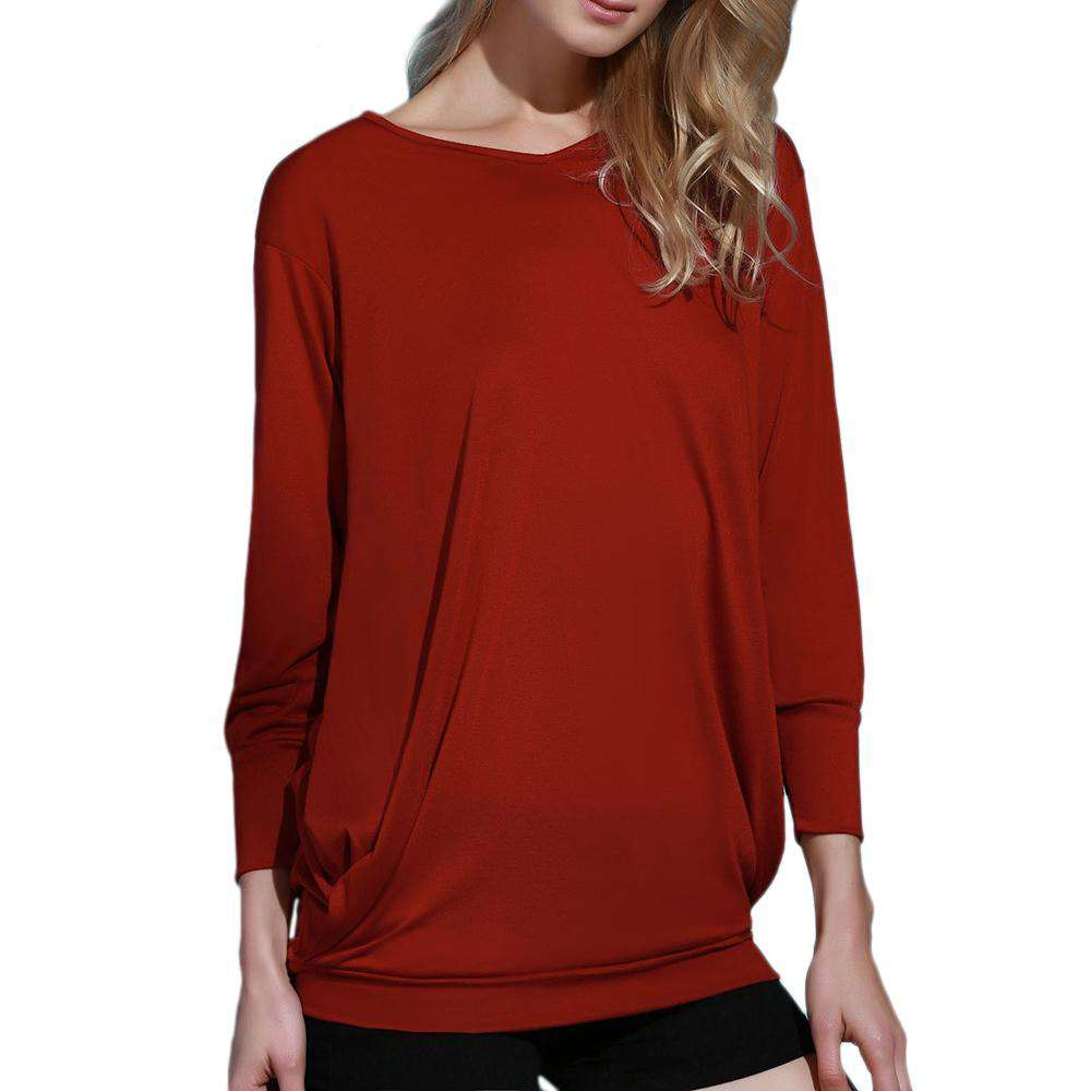 Stylish Plunging Neck Long Sleeve Solid Color Pocket Design Women Dress