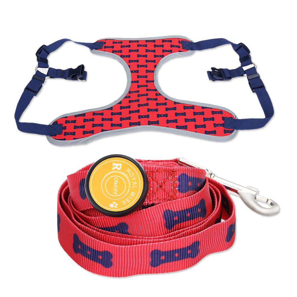 Royal Wise R Dog LED Lights Illuminating Adjustable Collar Harness Leash for Training Walking Running - 24/7 bestdeals