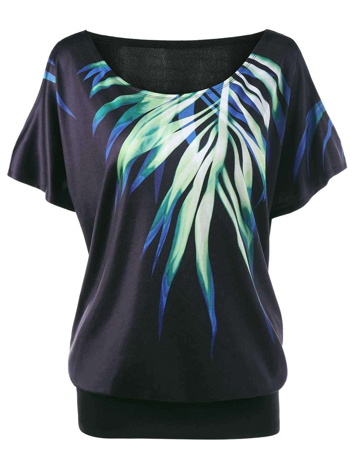 Plus Size Leaf Printed Cold Shoulder T-shirt