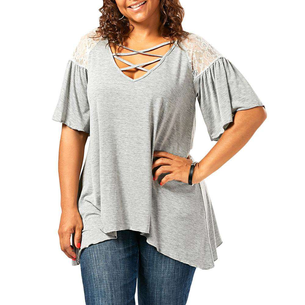 Plus Size Criss Cross Drop Shoulder Tunic T-Shirt - 24/7 bestdeals