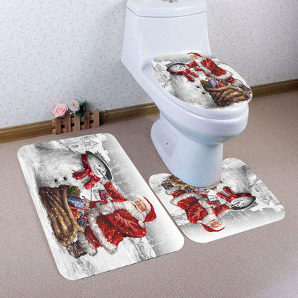 Father Christmas and Snowman Pattern 3Pcs Bathroom Mats Set - 24/7 bestdeals
