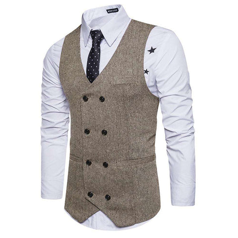 V Neck Double Breasted Belt Design Waistcoat - 24/7 bestdeals