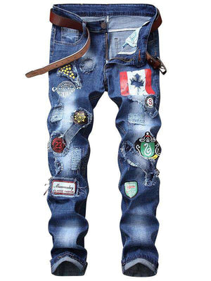 Flag Graphic Print Straight Distressed Jeans - 24/7 bestdeals