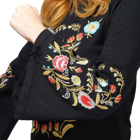 Stylish Stand Collar Long Sleeve Embroidery Women Sweater - 24/7 bestdeals