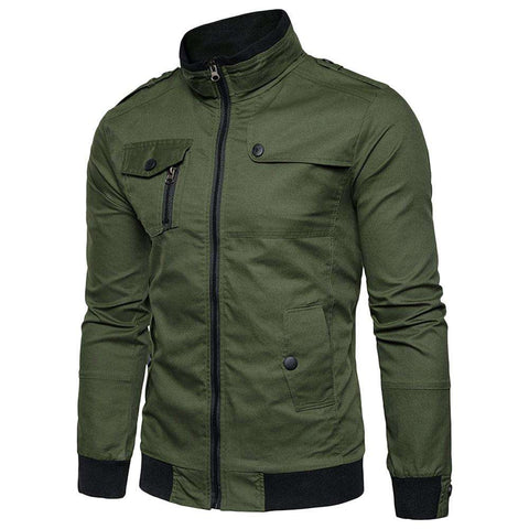 Epaulet Design Pockets Zip Up Cargo Jacket - 24/7 bestdeals