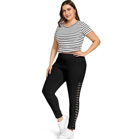 Plus Size Lace Up Leggings with Grommet - 24/7 bestdeals
