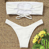Strapless Backless Padded Lace-up Solid Color Low Waist Women Bikini Set - 24/7 bestdeals