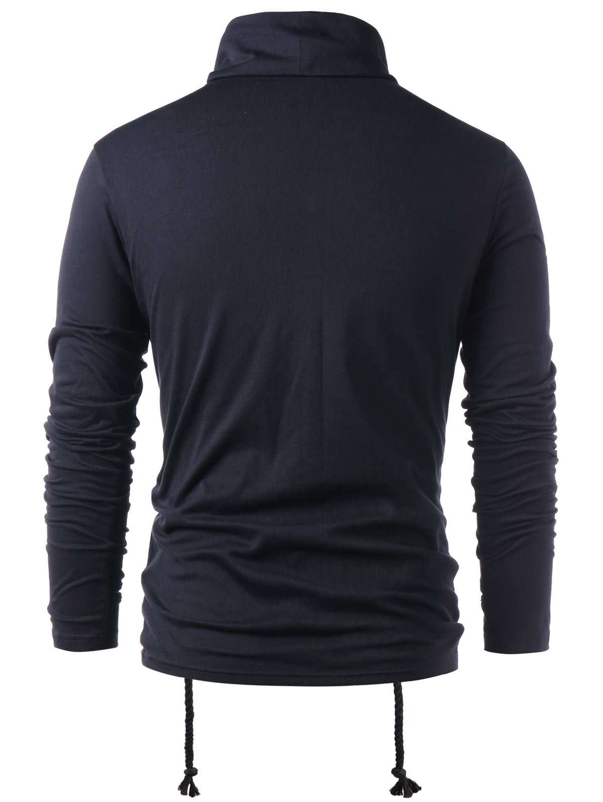 Turtle Neck Lace Up Long Sleeve T-shirt