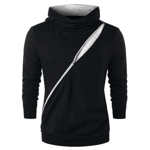 Zip Embellished Color Blocking Hoodie