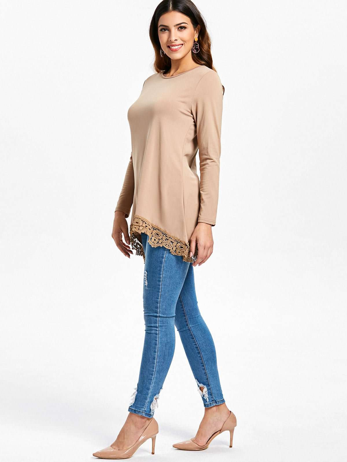 Lace Panel High Low Long Sleeve T-shirt