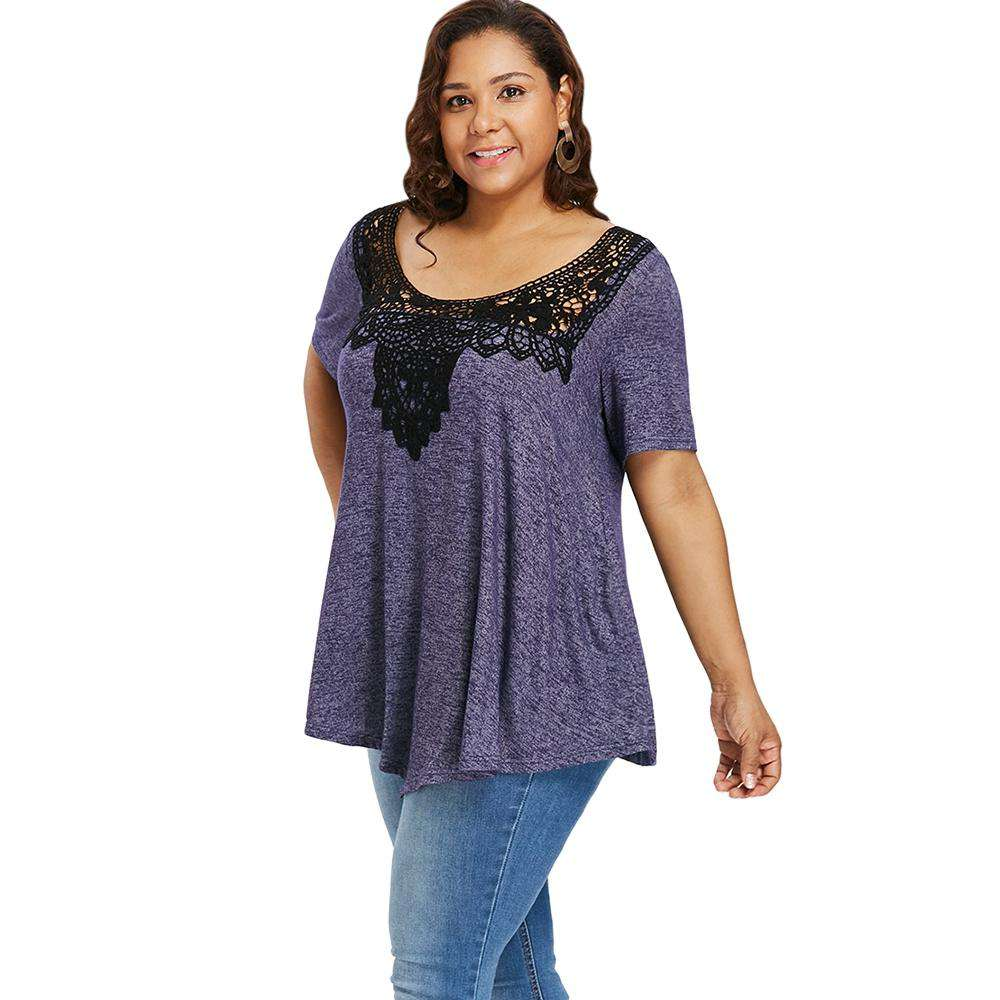 Plus Size Scoop Neck  Lace Color Blocking T-shirt