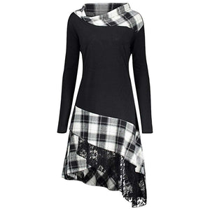 Stand Collar Long Sleeve Plaid Spliced Lace Plus Size Women Dress - 24/7 bestdeals