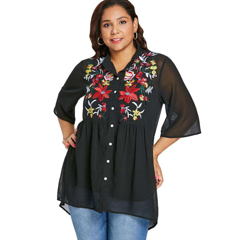 Plus Size Button Up Embroidery Blouse - 24/7 bestdeals